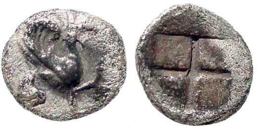 Ancient Coins - Ionia, Teos. Circa 475-450 BC. AR Tritemorion (0.28 gm, 7mm). SNG Turkey 601; Balcer 71