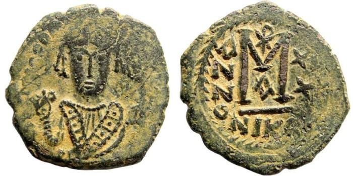 Ancient Coins - Maurice Tiberius. 582-602 AD. AE Follis (12.84 gm, 33mm). Nikomedia mint. Sear 513; Ratto 1108