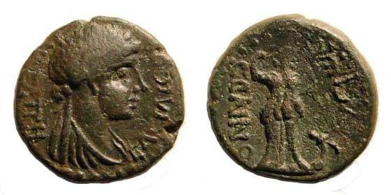 Ancient Coins - Cilicia, Selinus, Iotape, wife of Antiochos IV. 38-72 AD. Æ 18.1 mm (5.13 gm). RPC I 3702.4; SNG Levante 457