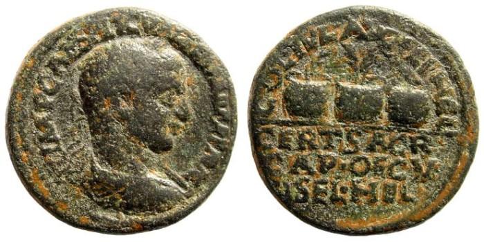 Ancient Coins - Syria, Coele-Syria. Heliopolis. Valerian I, 253-260 AD. AE 27mm (16.12 gm). BMC Galatia, etc. pg. 294, 27 and pl. XXXVI, 8 (same dies); SNG Copenhagen 440; Lindgren III 1284