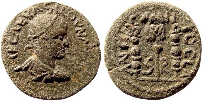 Ancient Coins - Pisidia, Antiochia. Valerian I, 253-260 AD. AE 22mm (5.33 gm). SNG PFPS 150