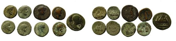 Ancient Coins - Group of nine Cappadocian bronzes. M. Aurelius; Alex. Severus, Lucius Verus, Antoninus Pius, Tranquilina