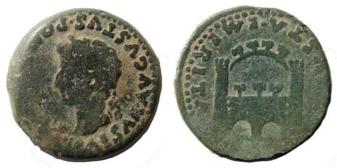 Ancient Coins - Lusitania, Emerita, Tiberius, 14-37 AD, AE As, gateway