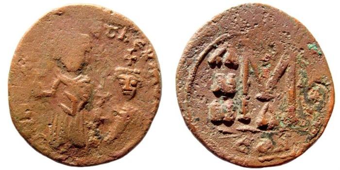 Ancient Coins - Heraclius & Martina, 610-641 AD. AE Follis (7.1 gm, 27mm). Constantinople.mint. Sear 805
