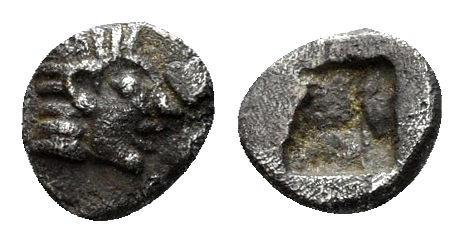 Ancient Coins - Ionia, Kolophon. Late 6th century BC. AR Tetartemorion (0.17 gm, 5mm). SNG Kayan 352