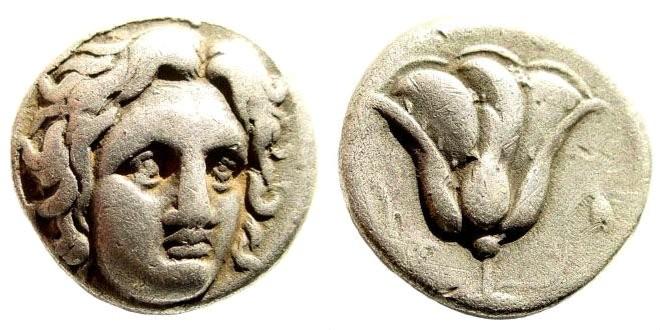 Ancient Coins - Karia, Rhodes. Circa 305-275 BC. AR Didrachm (6.43 gm, 18mm). SNG Helsinki 449