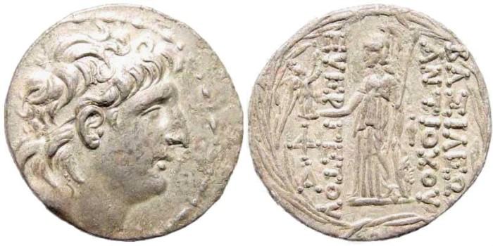 Ancient Coins - Seleucid Kingdom, Antiochus VII 138-129 BC. AR Tetradrachm (16.22 gm, 29mm). Antioch mint. Newell, Antioch 283; SNG Spear 1873
