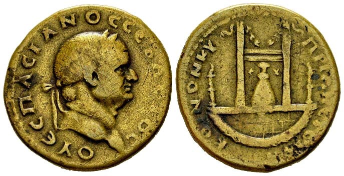 Ancient Coins - Cyprus, Koinon of Cyprus. Vespasian, 69-79 AD. AE 27mm (12.17 gm). Dated RY 8 (75/6 AD). SNG Copenhagen 75