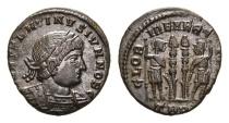 Ancient Coins - Constantine II, as Caesar, 317-337 AD. AE Follis (2.19 gm, 17mm). Treveri (Trier) mint. Struck 330-335 AD. LRBC 68