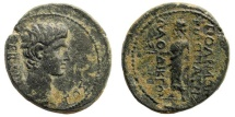 Ancient Coins - Phrygia, Laodikeia. Augustus, 27 BC-14 AD. AE 20mm (5.57 gm). Anto Polemon Philopatris, magistrate. RPC 2898