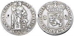 World Coins - Netherlands, Holland Province. AR Gulden (10.40 gm, 31mm). Dated 1793. Delm 1179