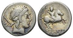 Ancient Coins - Pub. Crepusius. 82 BC. AR Denarius (3.83 gm, 17mm). Rome mint. Crawford 361/1c