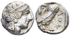 Ancient Coins - Attica, Athens. Circa 454-404 BC. AR Tetradrachm (17.19 gm, 24mm). Kroll 8