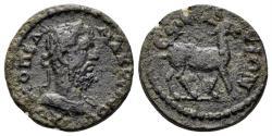Ancient Coins - Ionia, Ephesos. Macrinus, 217-218 AD. AE 17mm (3.02 gm). Mionnet Supp. VI, 590 var (stag left)