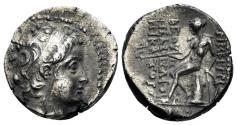 Ancient Coins - Seleukid Kingdom. Demetrios II, 1st reign. 146-138 BC. AR Drachm (4.00 gm, 18mm). Antioch mint. SC 1908
