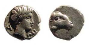 Ancient Coins - Caria, uncertain, Persic Hemiobol, attractive tiny coin