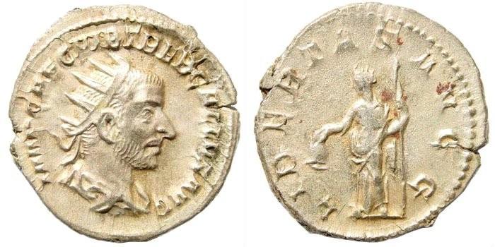 Ancient Coins - Trebonianus Gallus. 251-253 AD. AE Antoninianus (3.18 gm, 22mm). Rome. RIC 37
