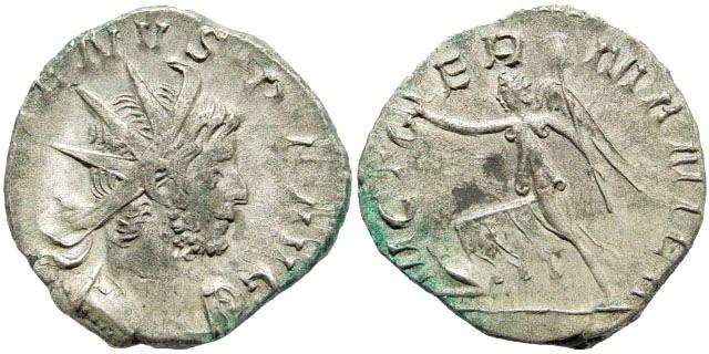 Ancient Coins - Gallienus. 253-268 AD. AR Antoninianus (2.76 gm, 20mm). Colonia Agrippinensis (Cologne) mint. 2nd emission, 258-259 AD. RIC V 44; Göbl 36, 893h; RSC 1061a