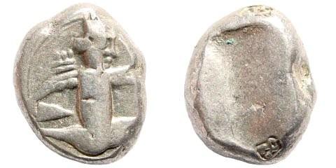Ancient Coins - Achaemenid Kings. 420-380 BC. AR Siglos (5.6 gm, 15mm). Bow-Dagger-Serie. Sardeis. Carradice Type IV; SNG Kayan 1033