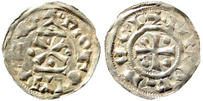 Ancient Coins - France, Normandy, Rouen. Richard I, 943 - 996. AR Denier (1.1 gm, 21mm). Dumas, Fécamp, 773; Legros, 192; D., 16