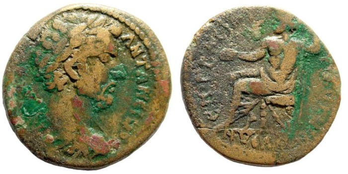 Ancient Coins - Lydia, Nysa. Antoninus Pius, 138-161 AD. AE 24mm (7.9 gm). Unpublished (?)