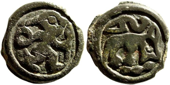 Ancient Coins - Gallia Belgica, the Remi, circa 100-60 BC. Cast Potin (5.55 gm, 20mm). BMC 501 ff; DLT 8124; DT 155; Scheers 191
