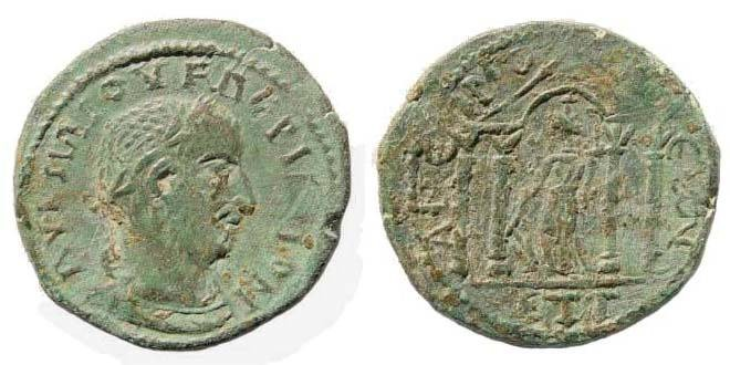 Ancient Coins - Cilicia, Anemourion, Valerian, 253-260 AD, AE 26.6 mm (8.79 gm, 1h). Regnal year 3 = 255/256. SNG Levante 517