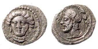 Ancient Coins - Cilicia, Tarsos, Datames, 378-362 BC, AR Obol (0.80 gm.). SNG Levante 93
