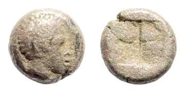 Ancient Coins - Lesbos, Mytilene or Antissa. Circa 450 BC. Billon Diobol (0.91 gm, 8mm). SNG Copenhagen 296. Rare