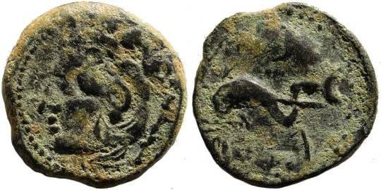Ancient Coins - Spain, Gades. Second half of 2nd century BC. AE 19mm (2.87 gm). SNG BMC 2, Spain, 293