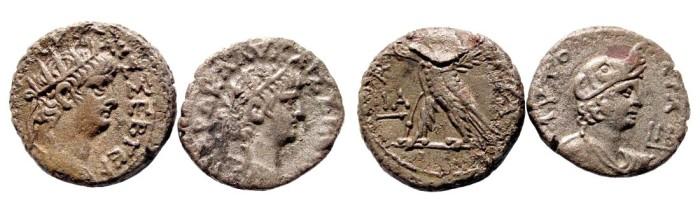 Ancient Coins - Lot of two Egypt, Alexandria. Nero. 54-68 AD. Billon Tetradrachms. Year 11 & 12