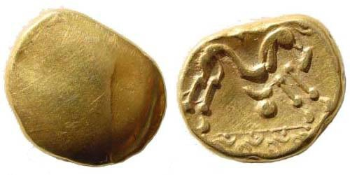 Ancient Coins - Celtic Northern Gaul, Ambiani. Circa 60-55 BC. AV Stater (6.19 gm). Scheers 154. Very fine