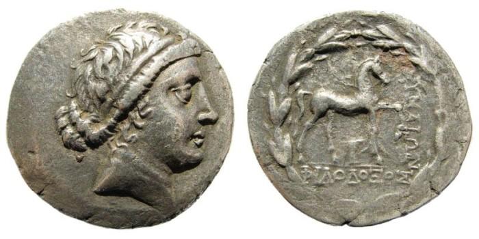 Ancient Coins - Aeolis, Kyme. Circa 165-140 BC. AR Tetradrachm (16.83 gm). Philodexos, magistrate. SNG Fitzwilliam 4309