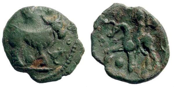Ancient Coins - Celtic, Gallia Belgica, Ambiani. Circa 60-30 BC. AE 16mm (2.06 gm). Scheers, Traité, 391; De la Tour 8456