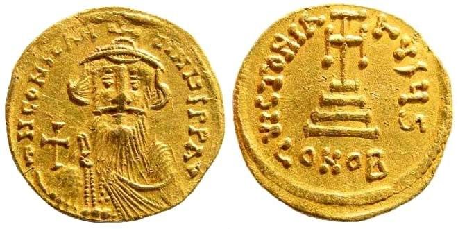 Ancient Coins - Constans II, 641-668 AD. AV Solidus (4.48 gm, 20mm). Constantinople mint, 6th officina. Struck 651/2-654. DOC 19e; MIB 23; SB 956