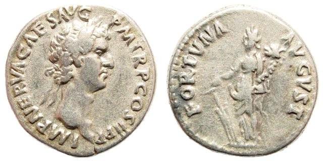 Ancient Coins - Nerva, 96-98 AD. AR Denarius (3.65 gm). BMC 10; Coh. 59; RIC 4