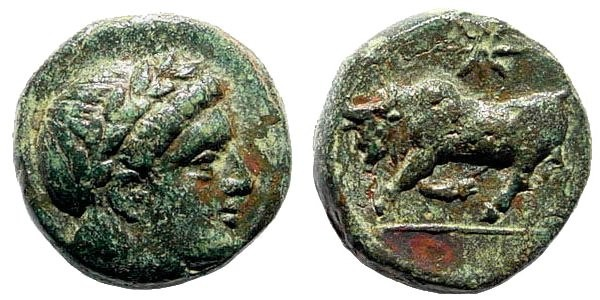 Ancient Coins - Mysia, Gambrion. After 350 BC. AE 10mm (1.16 gm). SNG Copenhagen 156-158