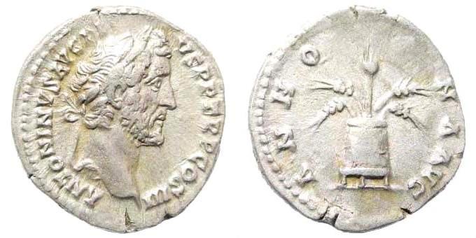 Ancient Coins - Antoninus Pius, 138-161 AD. AR Denarius (2.81 gm, 18mm). Rome mint. Struck 140-143 AD. RIC III 62a