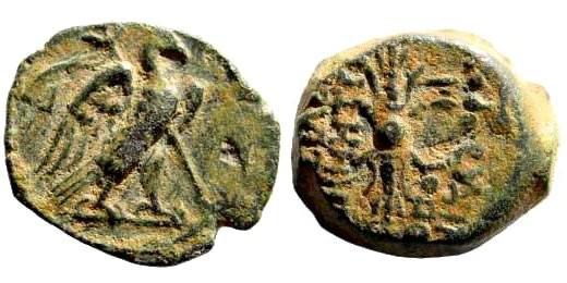 Ancient Coins - Seleukid Kingdom. Demetrios II. Second Reign, 130-125 BC. AE 15mm (2.96 gm). Antioch or Seleukia Pieria mint. SNG Spear 2198
