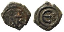 Ancient Coins - Justin II, 565-578 AD. AE Pentanummium (2.3gm, 16mm). Constantinople mint. Sear 363