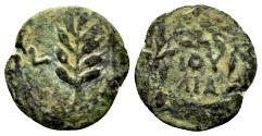 Ancient Coins - Judaea, Procurators. Valerius Gratus. 15-26 AD. AE Prutah (1.05 gm, 15mm). Jerusalem mint. Dated RY 2 of Tiberius (16/7 AD). RPC I 4959