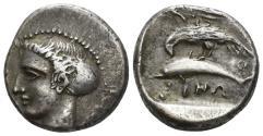 Ancient Coins - Paphlagonia, Sinope. Circa 410-350 BC. AR Drachm (6.16 gm, 18mm). SNG BM Black Sea 1376