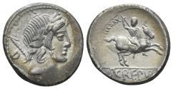 Ancient Coins - Pub. Crepusius. 82 BC. AR Denarius (3.69 gm, 17mm). Rome mint. Crawford 361/1c