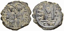 Ancient Coins - Justin II. 565-578. AE Follis (14.55 gm, 31mm). Constantinople mint. Dated RY 9 (573/4). SB 360