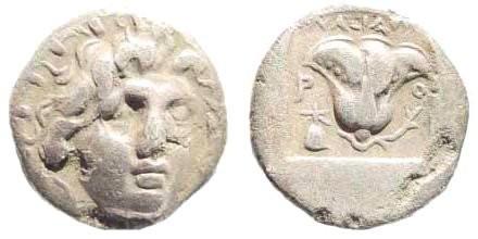 Ancient Coins - Karia, Islands off. Rhodes. Circa 170-150 BC. AR Plinthophoric Hemidrachm (1.38 gm, 12mm). Anaxidotos magistrate. SNG Keckman 648