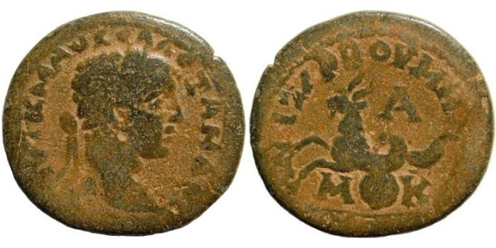 Ancient Coins - Cilicia, Anazarbos. Severus Alexander, 222 - 235 AD. AE 25mm/ Triassaria (?) (9.81 gm). Dated 223-224 AD. Ziegler, Anazarbus, 484 (Vs1/Rs3)