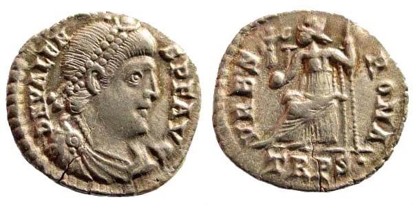 Ancient Coins - Valens. 364-378 AD. AR Siliqua (1.89 gm, 18mm). Treveri (Trier) mint, 1st officina. Struck 367-375 AD. RIC IX 27e.1