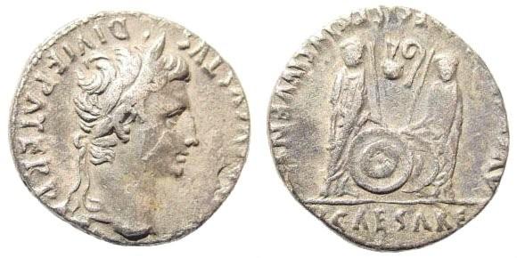 Ancient Coins - Augustus, 27 BC-14 AD. AR Denarius (3.69 gm, 18mm). Lugdunum (Lyon) mint. Struck 2 BC-14 AD. RIC I 207