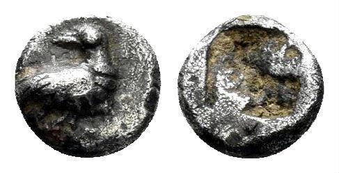 Ancient Coins - Macedon, Eion. 5th century BC. AR Tetartemorion (0.25 gm, 5.5mm). Unpublished denomination. Rare