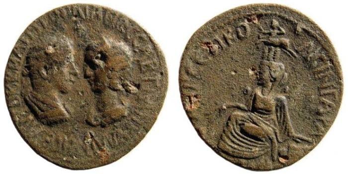 Ancient Coins - Mesopotamia, Singara. Gordian III, 238-244, and Tranquillina. AE 31mm (23.17 gm).  SNG Copenhagen 257